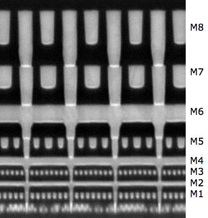 Cross section of Intel chip, 22nm process