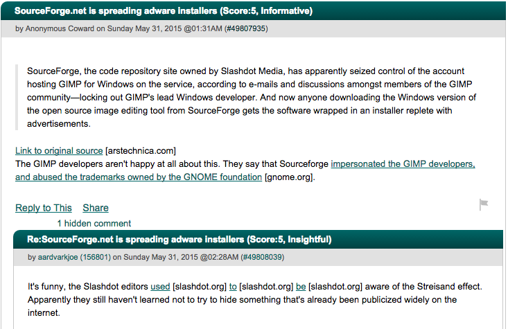 A highly upvoted comment about SourceForge on Slashdot